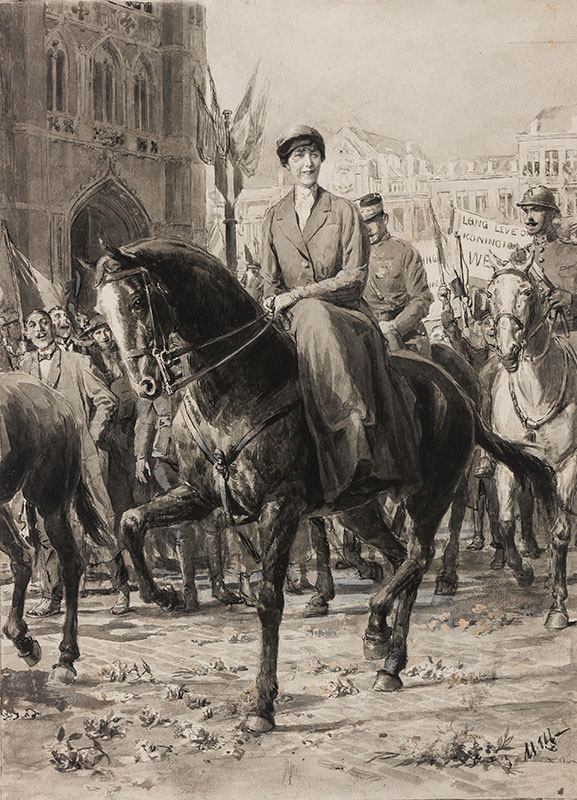 MATANIA Ugo (1888-1979) - Victory Parade with the Queen of ?Belgium.