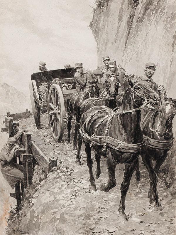 MATANIA Fortunino (1881-1963) - Italian Artillery rounding a pass in the Alps.
