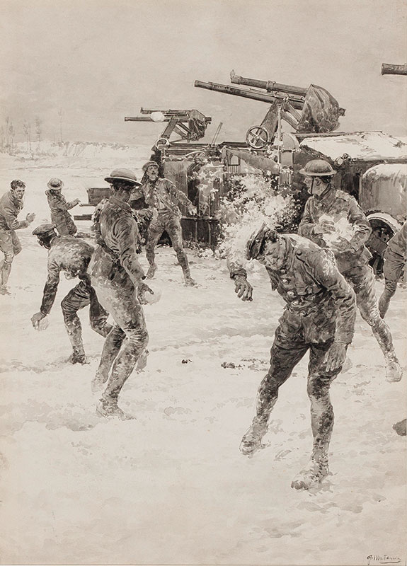 MATANIA Fortunino (1881-1963) - Snow ball fight behind the Front.