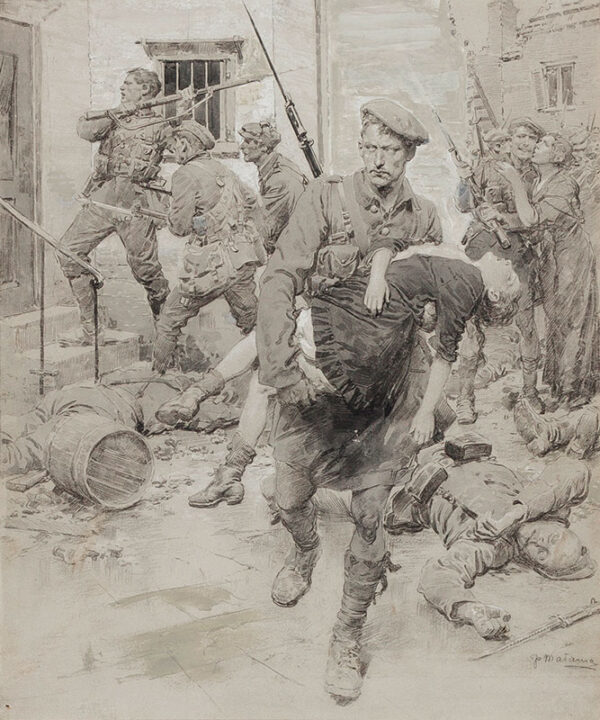 MATANIA Fortunino (1881-1963) - 'A Scot rescuing girl' in Loos, during the Battle of Loos.