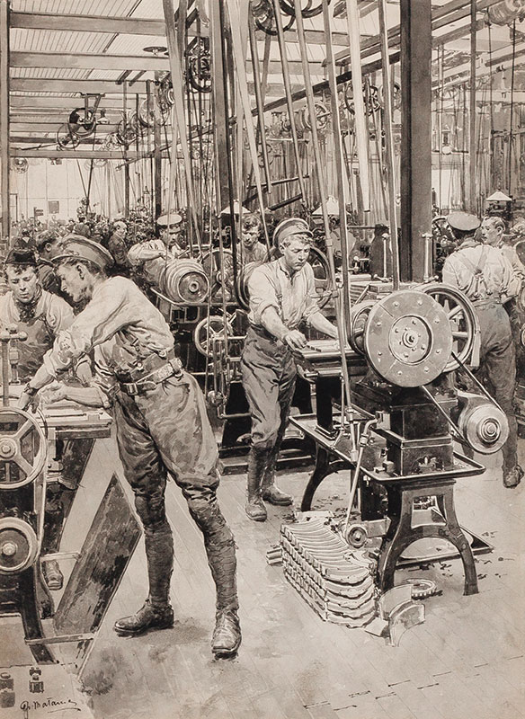 MATANIA Fortunino (1881-1963) - Returned Soldiers working in a Munitions Factory.