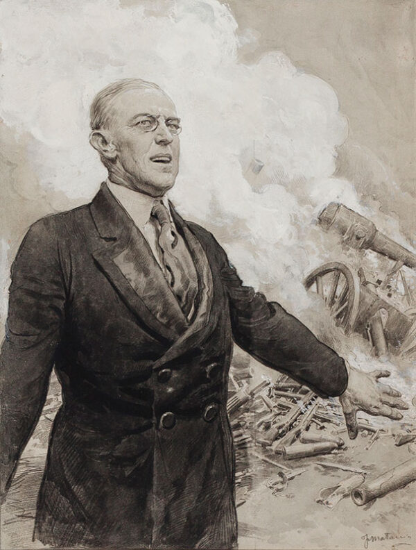 MATANIA Fortunino (1881-1963) - President Woodrow Wilson announcing the birth of the League of Nations.