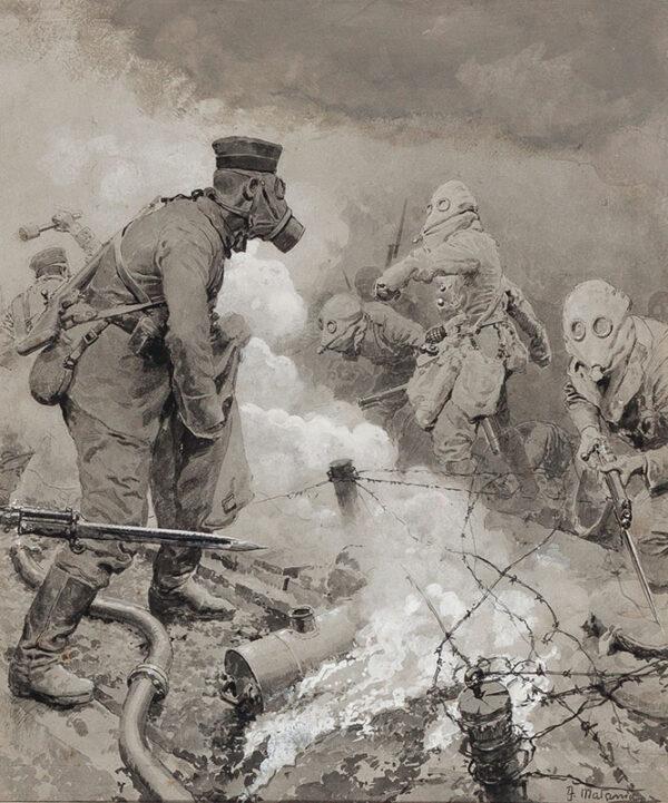 "MATANIA Fortunino (1881-1963) - German Gas: a British Attack""https://abbottandholder-thelist."