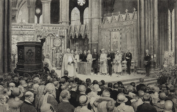MATANIA Fortunino (1881-1963) - 'The Nation gives thanks for the recovery of the King': the Dean of Westminster (William Foxley Norris) pronouncing the words 'God Save The King' on the steps of the Presbytery, Westminster Abbey, Sunday July 7th, 1929.