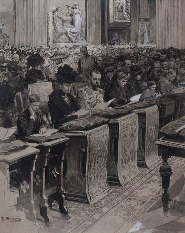 MATANIA Fortunino (1881-1963) - George V, Queen May and the Prince of Wales in St Paul's Cathedral.