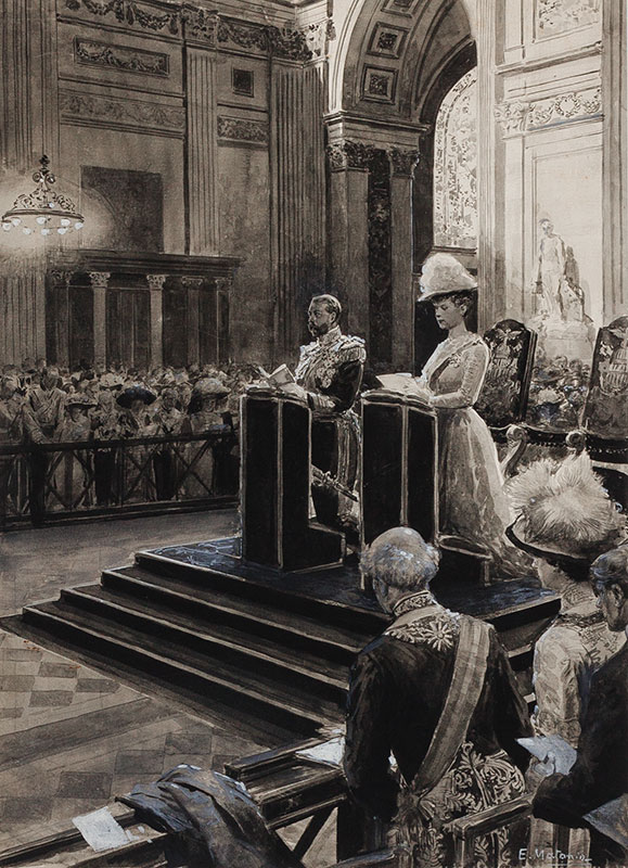 MATANIA Eduardo (1847-1929) - King George V and Queen Mary in St Paul's Cathedral.
