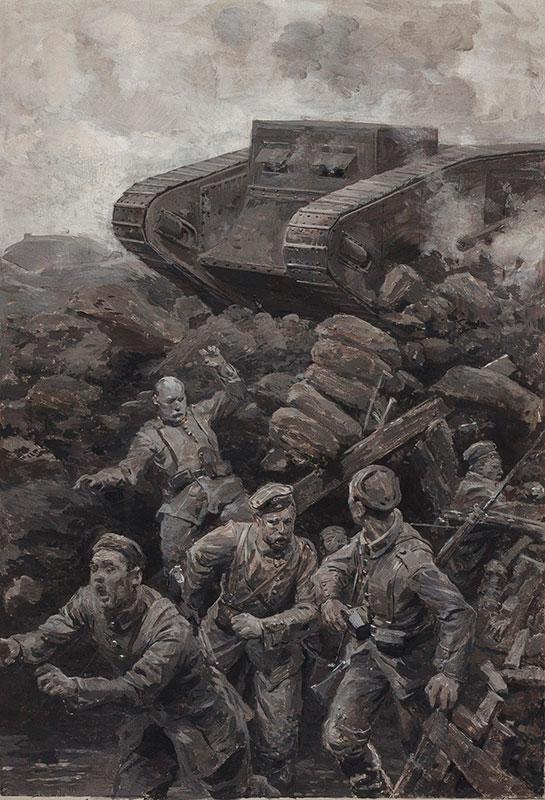 MATANIA Fortunino (1881-1963) - Ugo Matania (1888-1979) Germans fleeing a British Tank.