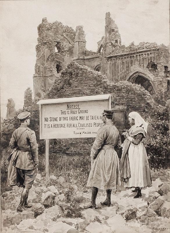 MATANIA Fortunino (1881-1963) - Edouardo Matania (1847-1929) The Ruins of Ypres.