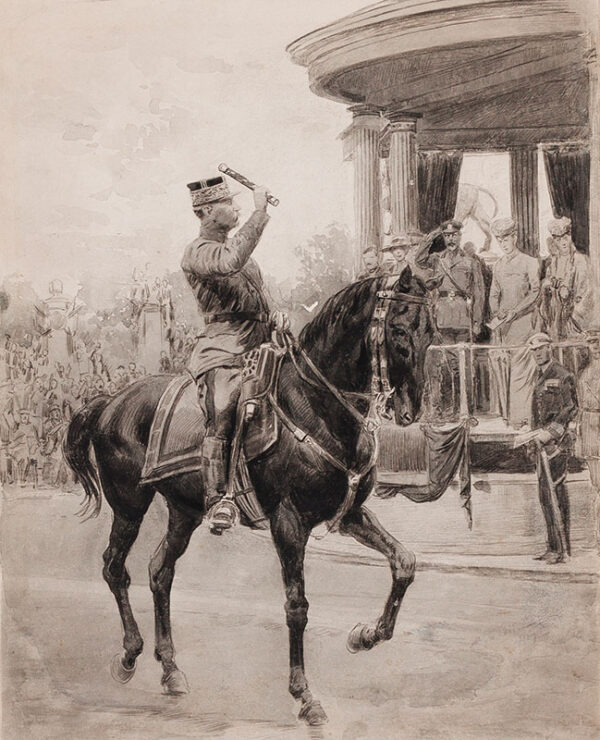 MATANIA Fortunino (1881-1963) - Ugo Matania (1888-1979) 'Victory Parade in Hyde Park: General Foch salutes dais / King George V and Queen Mary, Queen Alexandra, Princess Mary, 1919'.
