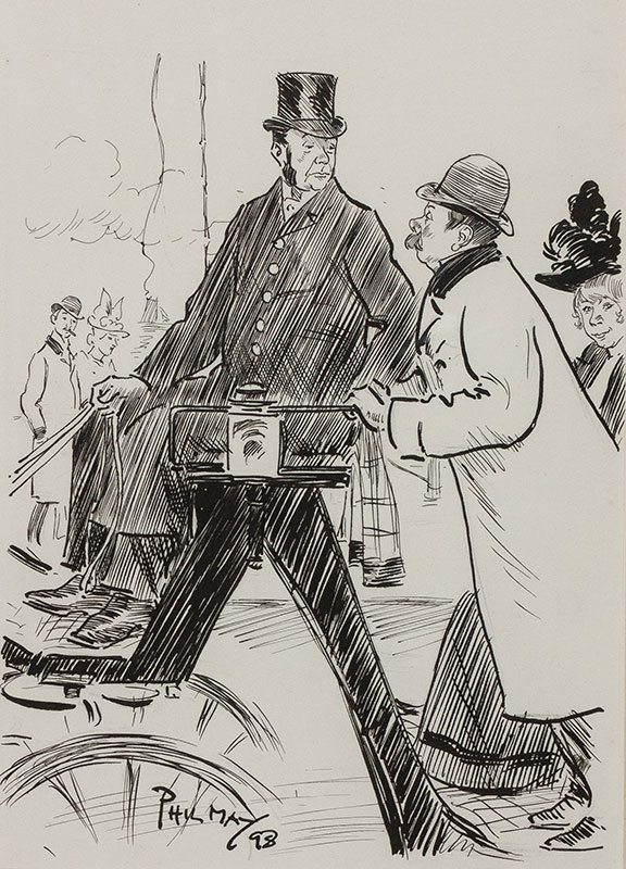 """MAY Phil (1864-1903) - 'Easter Monday / Arry: """"Do you pass any pubs on the way to Broadstairs Cabby""""."""