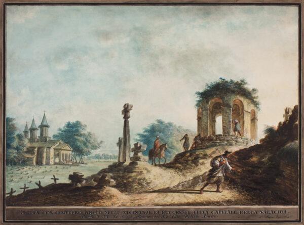 MAYER Luigi (1755-1803) - 'Chiesa con cimitero Greco nelle vicinanze de Bucoresti citta capitale della Valachia / Tavola No.