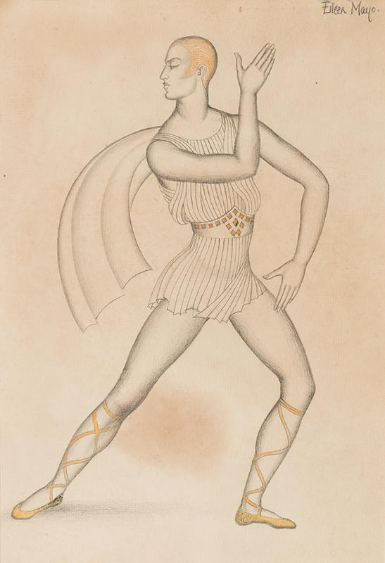 MAYO Eileen Dame D.B.E. (1906-1994) - Serge Lifar dancing 'Apollo Musagetes' in the Ballanchine ballet, Diaghilev Ballets Russe, 1928.
