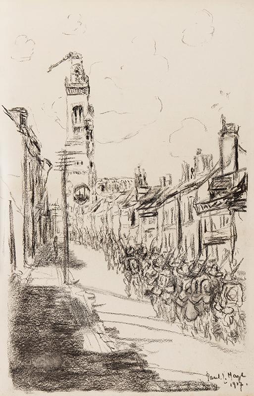 MAZE Paul (1887-1979) - Troop movement, Albert, the Somme.