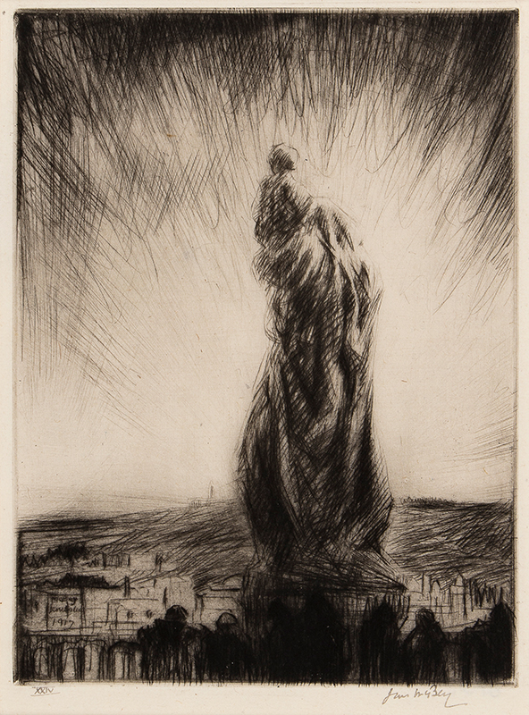 McBEY James (1883-1959) - 'Gunfire, Mount of Olives', statue of the Virgin and Child 0n the roof of the French Hospice in Jerusalem.