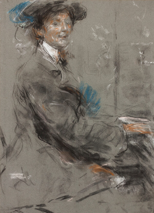 MCEVOY Ambrose A.R.A. (1878-1927) - Dame Ethel Smythe (1858-1944) Pastel on grey paper.