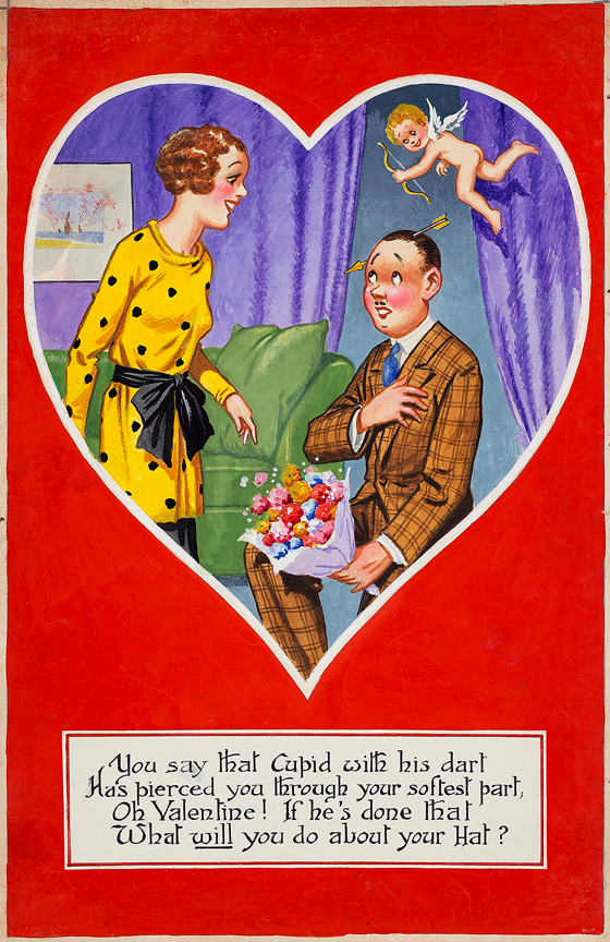 MCGILL Donald (1875-1962) - 'You say that Cupid with his dart / Has pierced you through your softest part / Oh Valentine! If he's done that / What will you do about your hat?' Gouache.