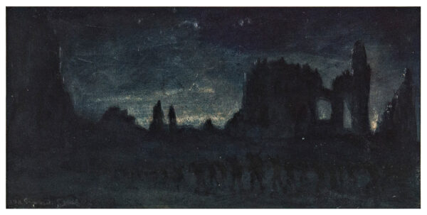 MEARS 'Gunner' F. J. (1890-1929) - Ypres; troops at night.
