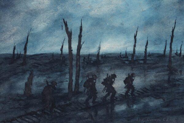 MEARS Gunner F.J B.E.F. (1890-1929) - WW1 battlefield at night.