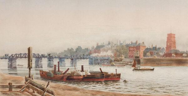 MEDLYCOTT Sir Hubert (1841-1920) - Chelsea: Old Battersea Bridge.