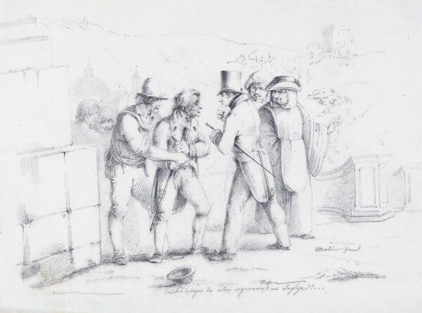 MELI Filipo (b.1795) - 'Vecchio indegno…ingannare un Inglese?'  Pencil.