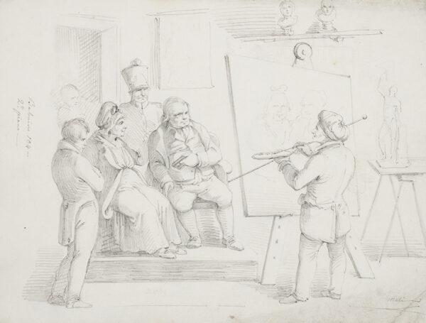 MELI Filippo (b.1795) - A portrait painter at work.