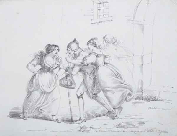 MELI Filippo  (b.1795) - 'Le Donne Romane che (?sherzeno) con 'l'Abate …'.
