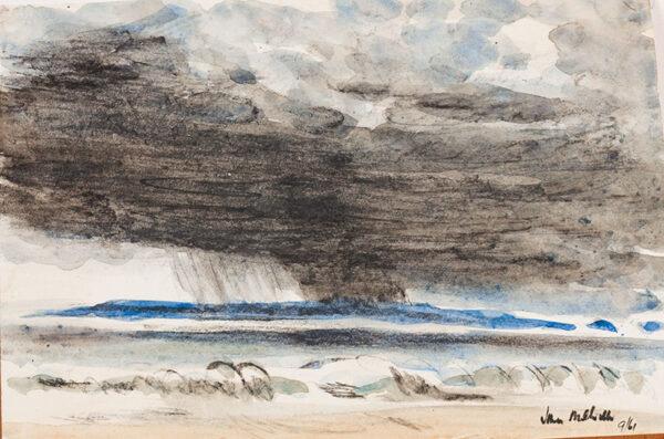 MELVILLE John (1902-1986) - Storm off the Scottish coast.