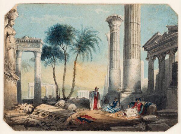 MERCER Frederick (fl.1830s) - 'Byron's (?Dream)' Watercolour.