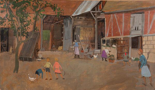 MICHONZE Gregoire (1902-1982) - 'The Farmyard, Ravenel, Oise'.