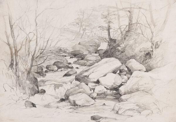 MIDDLETON John (1827-1856) - River study, possibly near Ivybridge, Devon.
