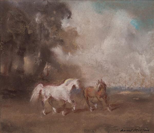 MILLAIS Raoul (1901-1999) - Horses in a landscape.