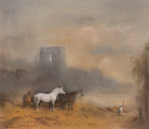 MILLAIS Raoul (1901-1999) - Horses below a tower.