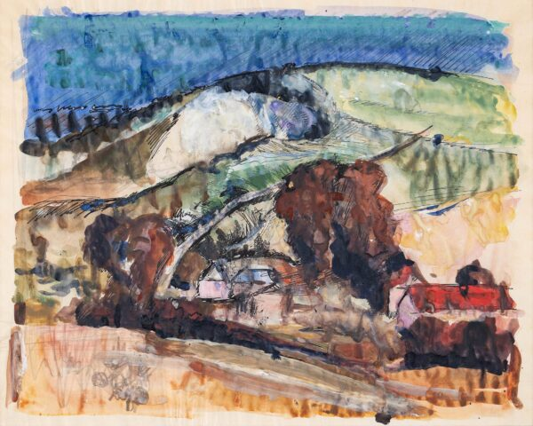 MILNE Malcolm (1887-1954) - The South Downs at Lewes.