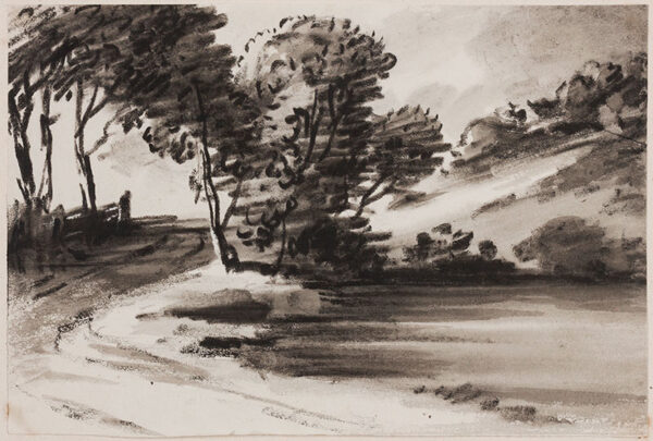 MONRO Dr Thomas (1759-1833) - The banks of a wooded pond.
