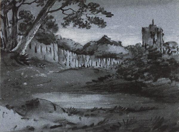 MONRO Dr Thomas (1759-1833) - Trees, pond and village tower.