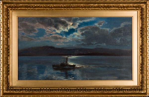 MOORE Henry (1831-1895) - The moonlit steamer.