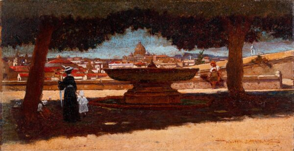 MORGAN Walter Jenks R.B.A. (1847-1924) - Rome: St Peter's from Canonball fountain in the gardens of the Villa Medici.