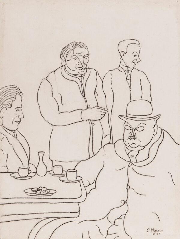 MORRIS Sir Cedric (1889-1982) - Café scene, Rome.