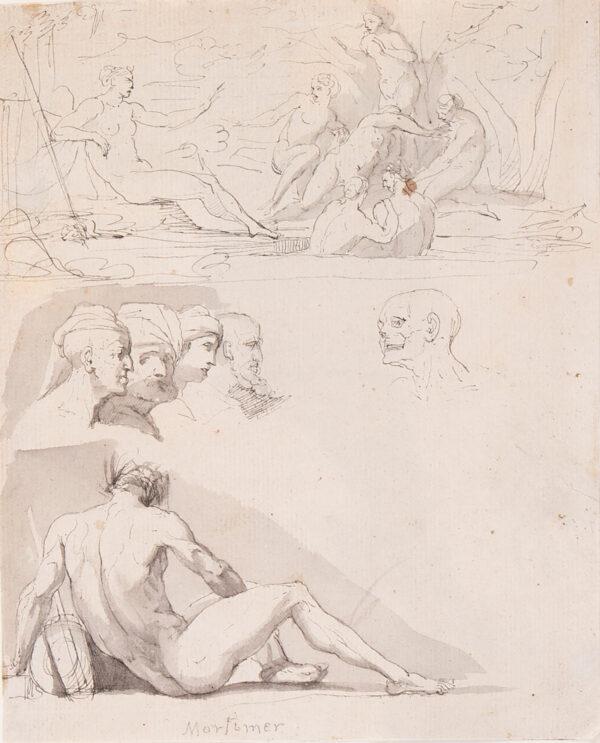 MORTIMER John Hamilton PSA (1740-1779) - A page of studies.