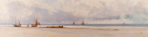 MOTTRAM Charles Sim (1852-1919) - Fishing smacks on a Cornish beach.