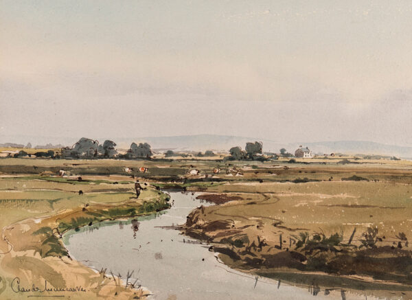 MUNCASTER Claude (1903-1974) - Sussex: 'Looking inland from Pagham Harbour'.