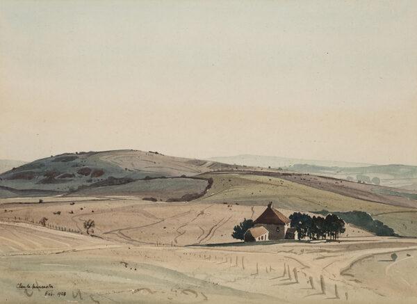 MUNCASTER Claude R.W.S.  S.M.A.  (1903-1974) - 'Downs above Sullington', Sussex.