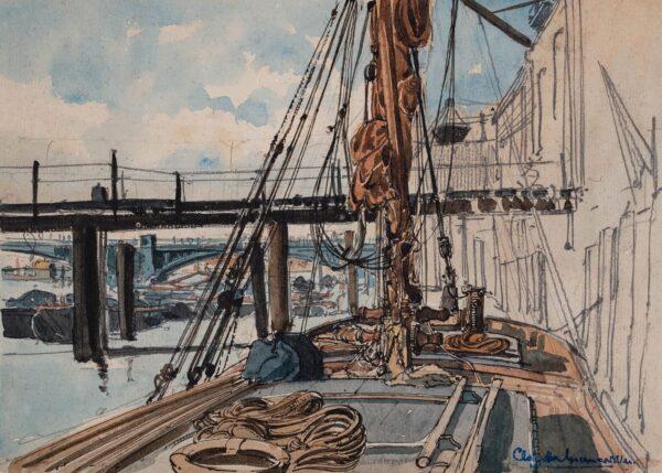 MUNCASTER Claude P.R.S.M.A. R.W.S. (1903-1974) - Barge moored near Old Blackfriars Bridge.