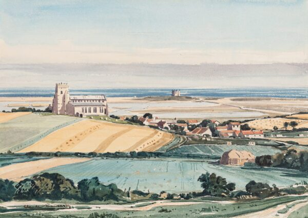 MUNCASTER Claude P.R.S.M.A. R.W.S. (1903-1974) - Salthouse Church and the Rocket House (aka Randall's Folly) from Kelling Heath.