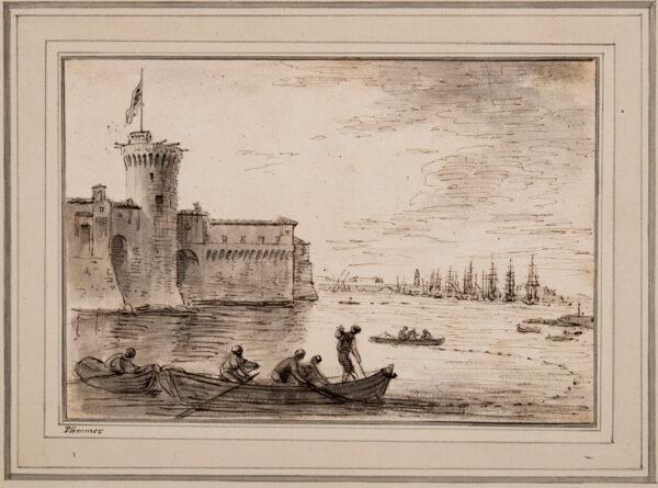 'PLIMMER' possibly John Plimmer (1722-1760) - Fisherman beneath a Castle's walls.