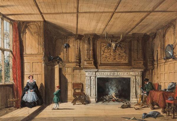 NASH Joseph O.W.S. (1809-1873) - Warwickshire; Kenilworth, the fireplace in the Gatehouse.