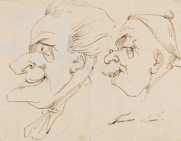 NENCI Francesco (1781-1850) - Page of caricatures, recto and .