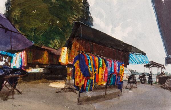 NEWBERRY John R.W.S. (b.1934) - Malaysia: 'Cloth stalls, Muar'.