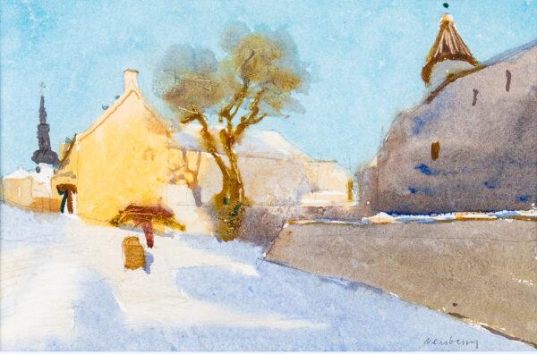 NEWBERRY John R.W.S. (b.1934) - 'Sunlight on snow, near Alexander Nevsky Cathedral, Talllinn', Estonia.