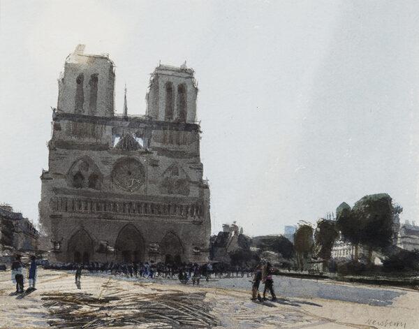 NEWBERRY John R.W.S. (b.1934) - 'Early Morning Sun, Notre Dame'.